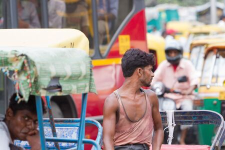 Bicycle rickshaw on the Delhi street