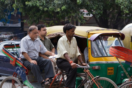 Bicycle rickshaw on the Delhi street