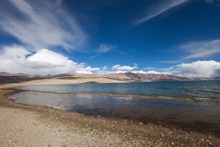 Mountains Lake Tsomoriri. altitude 4595 m. photo