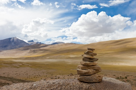 Ladakh. Tibetan cairn in Himalayas Stock Photo
