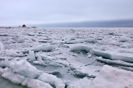 ice floes: Cold anticyclone on Crimean coast Stock Photo