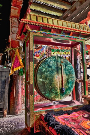 Traditional tibetan drum in a Ladakh gompa photo
