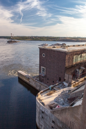Zaporozhye hydro power plant on the river Dnepr  Ukraine Stock Photo - 17024305