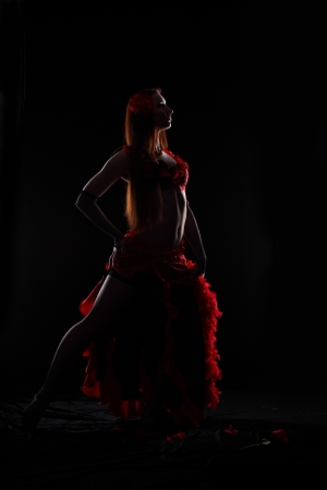 Attractive woman dance in the darkness Stock Photo - 17620174