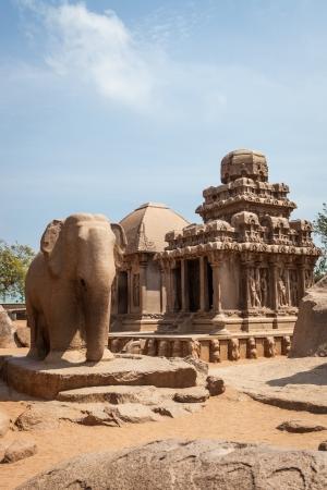mahabalipuram: Ancient Rock Temple, Five Rathas , Mamallapuram, Tamil Nadu India