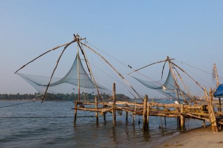 Chinese fishnets. Kochi, Kerala, India Stock Photo - 20041242
