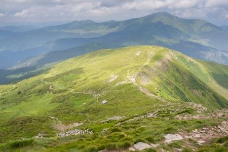Summer panorama of Montenegrin mountain range photo