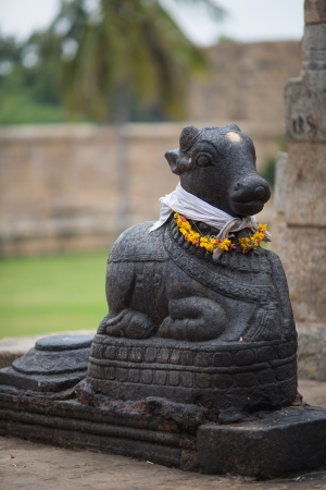 indian animal: Stone statue of a cow in Indian temple. State of Tamil Nadu.