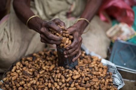 earthnut: A pile of peanuts in the market