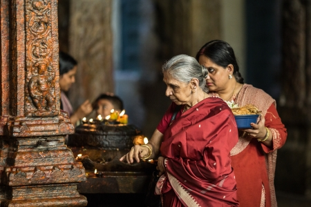 Hindu prayer in the ancient temple