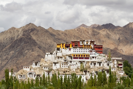stupas: The picturesque Buddhist temple in the province of Ladakh in the Indian Himalayas Stock Photo
