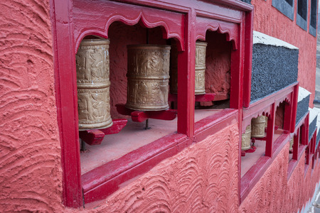 Prayer wheel in the province of Ladakh. The Indian Himalayas photo