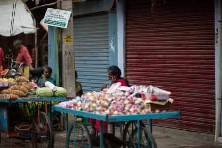 subcontinent: Trader on the street selling their wares, India