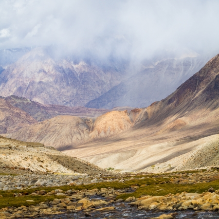 The stream in the valley of Ladakh. The Indian Himalayas