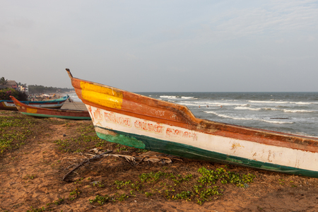 Fishing boat on the shore of the Indian Ocean