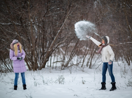 Two girls playing in the snow photo