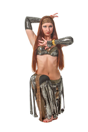 bellydancing: Woman in a snake costume dance in a tribal style