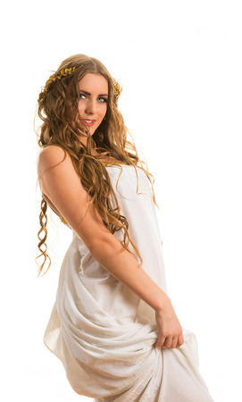 Ancient godness in a white greece toga isolated on a white background Stock Photo