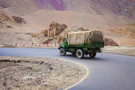 cornering: Military truck cornering Himalayan road