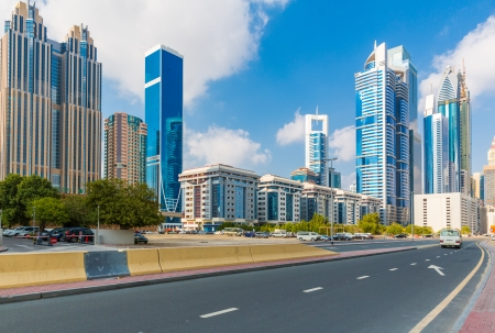 View of downtown Dubai clear day Stock Photo