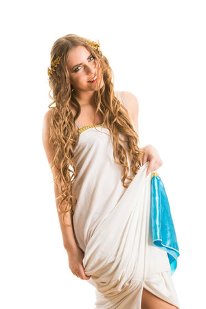 Ancient godness in a white greece toga isolated on a white background photo