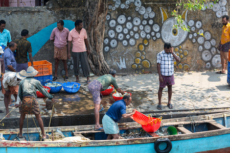 chinese fishing nets: KOCHIN, INDIA-FEBRUARY 24: Fishermen on the city port on February 24, 2013 in Kochin, India. Indian fishermen using traditional Chinese network for fishing