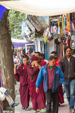 tantric: LEH, INDIA-SEPTEMBER 3: Buddhist monks 3, 2011 in Leh, India. Buddhist monks on the street in Lech. Ladakh province.