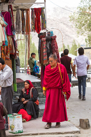 tantric: LEH, INDIA-SEPTEMBER 3: Buddhist monk3, 2011 in Leh, India. Buddhist monk on the street in Lech. Ladakh province. Editorial