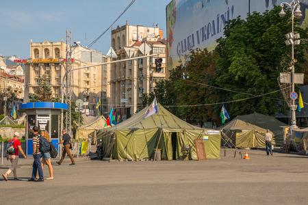 maidan: KIEV, UKRAINE-JULY 24:  Maidan Nezaleznosti  24, 2014 in Kiev, Ukraine.  Barricades on the Maidan Nezaleznosti.