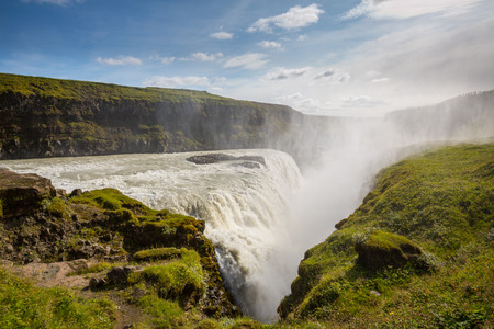 Gullfoss waterfall located in the canyon of Hvita river in southwest Iceland. photo