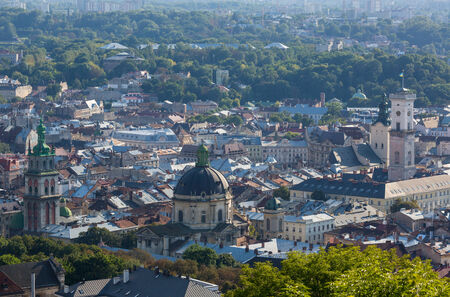 lemberg: View down on the roof of the Ukrainian city of Lviv