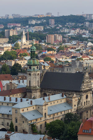 lviv: View down on the roof of the Ukrainian city of Lviv