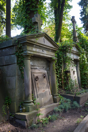 lviv: Crypt on grave in the old cemetery Stock Photo