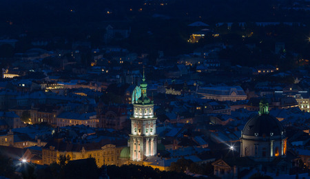 panoramas: View down on the roof of the Ukrainian city of Lviv
