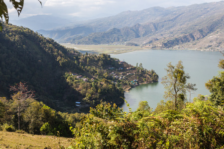pokhara: View of the city of Pokhara and Phewa Lake from a height
