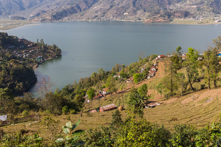 phewa: View of the city of Pokhara and Phewa Lake from a height