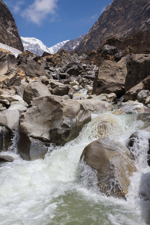 Mountain river on the track to the base camp of Annapurna photo