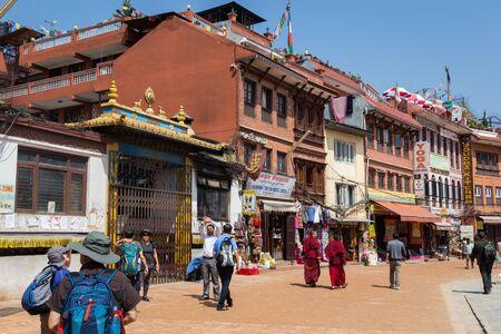 KATHMANDU, NEPAL-MARCH 28: Boudhanath stupa on March 28, 2015 in Kathmandu, Nepal. a famous, sacred Hindu temple.