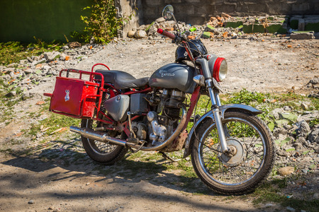 enfield: KATHMANDU, NEPAL-MARCH 17: Motorcycle 17, 2015 in Kathmandu, Nepal. Motorcycle on the street. Editorial