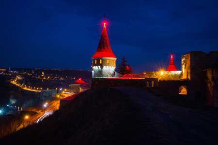 iluminated: Kamianets-Podilskyi castle on the west of Ukraine