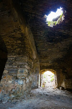 steps and staircases: Dungeon of a medieval castle in the west of Ukraine