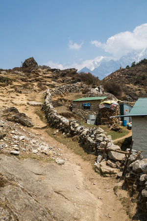 ways to go: The trail on the trek to Everest base camp Stock Photo