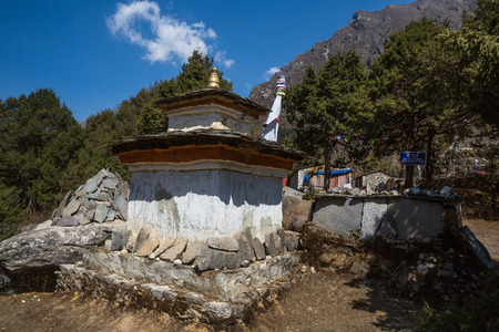 gompa: Buddhist stupa on the track to Everest Base Camp