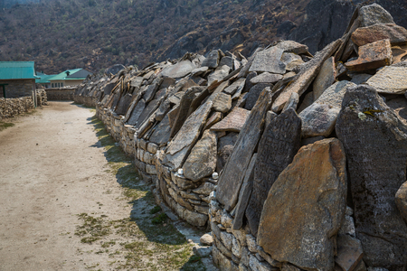 sherpa: Stone table on the track to the Everest base camp