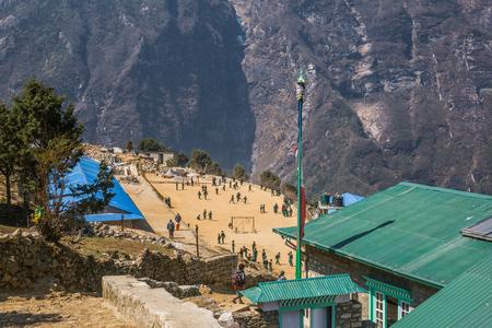 sherpa: NAMCHE BAZAAR, NEPAL-APRIL 28: Panorama of the city 28, 2016 in Namche Bazaar, Panorama of the city.
