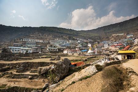 tibetan house: NAMCHE BAZAAR, NEPAL-APRIL 27: Panorama of the city 27, 2016 in Namche Bazaar, Panorama of the city. Editorial