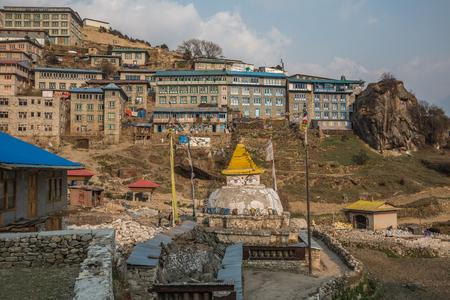 sherpa: NAMCHE BAZAAR, NEPAL-APRIL 27: Panorama of the city 27, 2016 in Namche Bazaar, Panorama of the city. Editorial