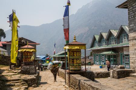 lodges: SAGARMATHA, NEPAL-APRIL 26: Way to Everest 26, 2016 in Sagarmatha, Nepal. Lodges on the track to the Everest base camp.