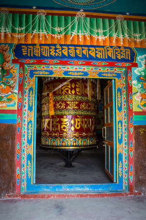 orison: Praying wheel on the way to the Everest Base Camp Editorial