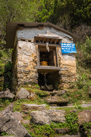 orison: Praying wheel on the way to the Everest Base Camp Stock Photo